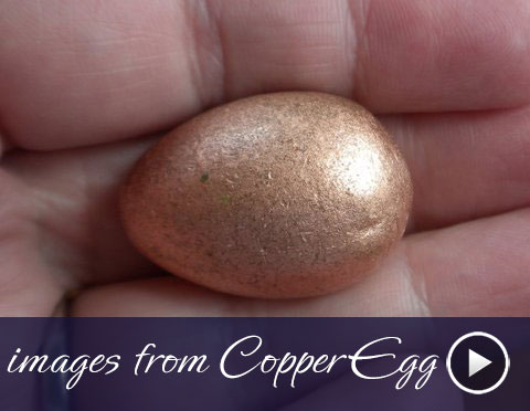 Copper egg I bought at rock shop; north shore of Lake Superior